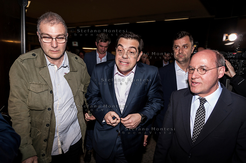 """ROME, ITALY - MARCH 23: Greek Prime Minister Alexis Tsipras (C) whith Gregor Gisy (R) President of the Party of the European Left participated in the meeting """"Transform Europe"""",  which was held to University La Sapienza. In the courtroom to hear the greek prime minister many militants of the radical left, from different parties, and associations on March 23, 2017 in Rome;Italy."""