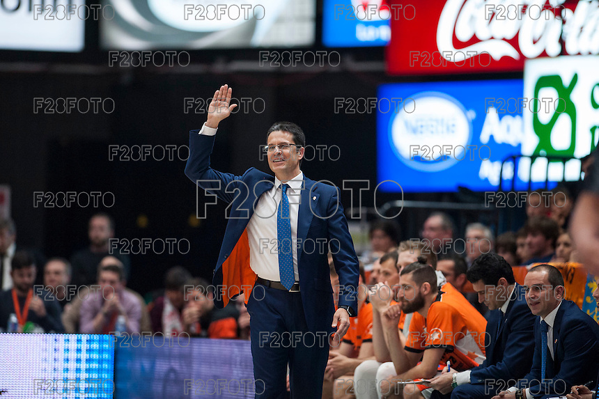VALENCIA, SPAIN - FEBRUARY 28: Pedro Martinez during ENDESA LEAGUE match between Valencia Basket Club and Real Madrid at Fonteta Stadium on   February, 2016 in Valencia, Spain