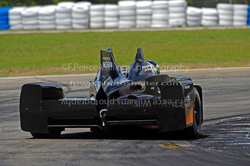 Driver Marino Franchitti debuts the Highcroft Racing/AAR Nissan powered Delta Wing car during Thursday's practice day for the 12 Hours of Sebring. The DeltaWing will race for the first time this year as the 56th and experimental entry at the 24 Hours of Le Mans in France. The car, while having normal sized rear tires employs a narrow front track and special Michelin 4 inch wide front tires.