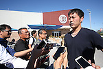 Koji Uehara (Cubs),<br /> FEBRUARY 15, 2017 - MLB : Japn's pitcher Koji Uehara of the  Chicago Cubs is interviewed by media after the first day of team's spring training baseball camp in Mesa, Arizona. United States.<br /> (Photo by AFLO)