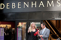 Bill Milligan selling support manager and employee of 19 years and Michelle Mone, cut the ribbon, at the newly refurbished Debenhams Glasgow   .Picture Johnny Mclauchlan/Universal News and Sport (Scotland)28/10/2010