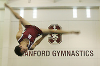 7 October 2005: The men's gymnastics signage during gymnastics practice at the Ford Center in Stanford, CA.
