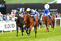 Winner of The Sorvio Insurance Brokers Maiden Stakes (Plus 10)  Polish (yellow cap) ridden by Kieran Shoemark and trained by Roger Charlton during Afternoon Racing at Salisbury Racecourse on 12th June 2018