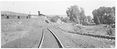 A wide-angle view of the D&amp;RGW tracks just west of the Durango car shop.  The centered track is coming from the Graden Flour Mill and the track curving to the right is headed for the Animas River bridge and RGS country.<br /> D&amp;RGW  Durango, CO  8/15/1951