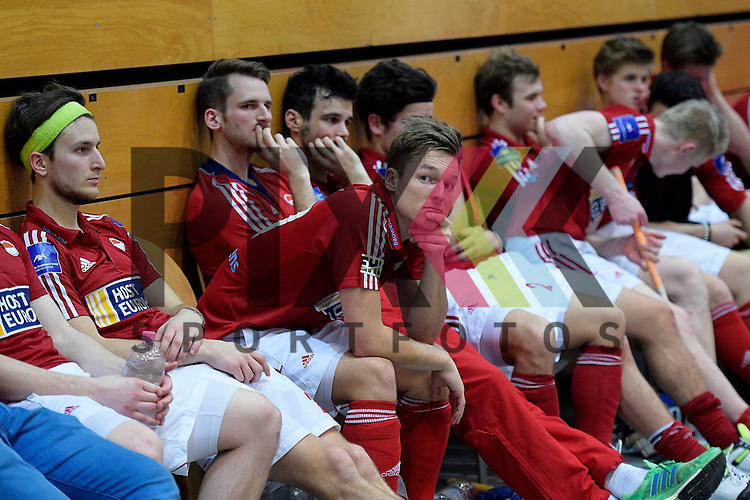 GER - Luebeck, Germany, February 07: During the prize giving ceremony at the Final 4 on February 7, 2016 at Hansehalle Luebeck in Luebeck, Germany. Players of Rot-Weiss Koeln look dejected after loosing the final at the Final4 tournament inLuebeck against HTC Uhlenhorst Muehlheim 8-4.<br /> <br /> Foto &copy; PIX-Sportfotos *** Foto ist honorarpflichtig! *** Auf Anfrage in hoeherer Qualitaet/Aufloesung. Belegexemplar erbeten. Veroeffentlichung ausschliesslich fuer journalistisch-publizistische Zwecke. For editorial use only.