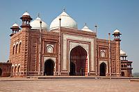 Agra, India.  Taj Mahal Mosque.  Chhatris on the corners.