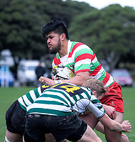 Action from the Wellington Les Mills Colts division one club rugby final between Old Boys University and Hutt Old Boys Marist at Petone Rec in Petone, New Zealand on Saturday, 4 August 2018. Photo: Dave Lintott / lintottphoto.co.nz