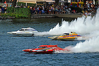 """Tom Pakradooni, GP-88, """"Rolling Thunder"""", Marty Wolfe, GP-93 """"Renegade""""  and Jimmy King, GP-10 """"The Charger"""" (Grand Prix Hydroplane(s)"""