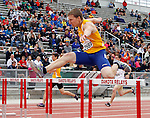 SIOUX FALLS, SD - MAY 3:  Traxton Priebe from South Dakota State clears a hurdle in the Men's 300 Meter Hurdle Finals Saturday at the 2014 Howard Wood Dakota Relays. (Photo by Dave Eggen/Inertia)