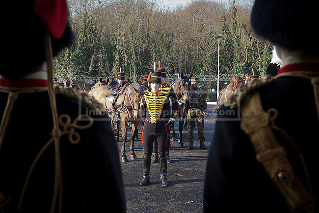 07/02/2012. LONDON, UK. Soldiers of the Kings Troop Royal Horse Artillery parade at their new barracks in Woolwich today (07/02/12). Previously based at St John's Wood since 1947, the Royal Artillery's ceremonial unit today arrived at their new home at Napier Barracks in Woolwich Photo credit: Matt Cetti-Roberts