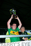 South Kerry's Captain Conor O'shea lifts the cup after winning the Acorn Life Under 21 GAA Football Championship final against Dingle at Austin Stack Park on Tuesday