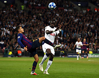 Philippe Coutinho of FC Barcelona and Moussa Sissoko of Tottenham Hotspur during Tottenham Hotspur vs FC Barcelona, UEFA Champions League Football at Wembley Stadium on 3rd October 2018