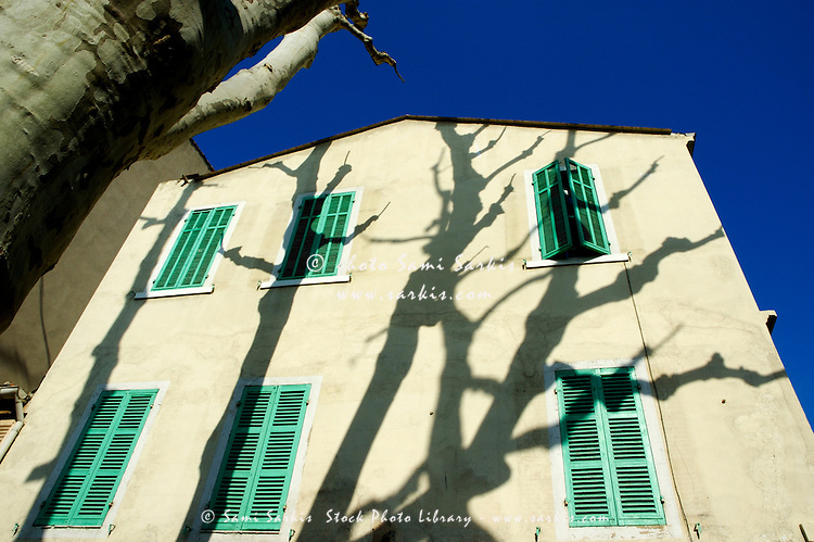 Plane tree (Platanus) casting shadows on a quaint building on Boulevard Eugene Pierre, Marseille, France.