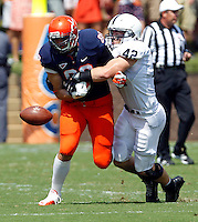 Penn State linebacker Michael Mauti (42) causes Virginia tight end Paul Freedman (88) to fumble the ball during the first half of an NCAA football game Saturday Sept. 8, 2012 in Charlottesville, VA.