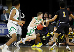 SIOUX FALLS, SD - MARCH 8: Brady Danielson #15 of the North Dakota Fighting Hawks tries to drive past DeMierre Black #24 of the PFW Mastodons at the 2020 Summit League Basketball Championship in Sioux Falls, SD. (Photo by Richard Carlson/Inertia)