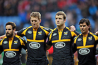 Ruaridh Jackson, Bradley Davies, Joe Launchbury and Ben Jacobs of Wasps look on prior to the match. Aviva Premiership match, between Wasps and Gloucester Rugby on November 8, 2015 at the Ricoh Arena in Coventry, England. Photo by: Patrick Khachfe / Onside Images