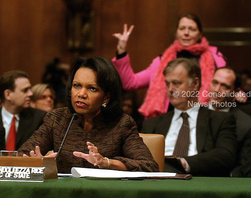 """Washington, D.C. - January 11, 2007 -- United States Secretary of State Condoleezza Rice testifies before the United States Senate Foreign Relations Committee hearing on """"Securing America's Interests in Iraq: The Remaining Options: The Administration's Plan for Iraq"""" in Washington, D.C. on Thursday, January 11, 2007..Credit: Ron Sachs - CNP"""