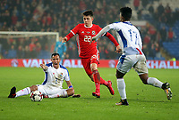 Ben Woodburn of Wales (C) gets past Blas Perez (L) na dLuis Ovalle of Panama (R) during the international friendly soccer match between Wales and Panama at Cardiff City Stadium, Cardiff, Wales, UK. Tuesday 14 November 2017.