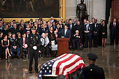 The Speaker of the United States House of Representatives Paul Ryan (Republican of Wisconsin) makes remarks during the Lying in State ceremony honoring the late US Senator John McCain (Republican of Arizona) in the US Capitol Rotunda in Washington, DC on Friday, August 31, 2018.<br /> Credit: Ron Sachs / CNP<br /> <br /> (RESTRICTION: NO New York or New Jersey Newspapers or newspapers within a 75 mile radius of New York City)