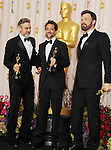 HOLLYWOOD, CA - FEBRUARY 24: Actor/Producer, George Clooney, Producer, Grant Heslov, Actor/Director/Producer, Ben Affleck, pose in the press room the 85th Annual Academy Awards at Dolby Theatre on February 24, 2013 in Hollywood, California.