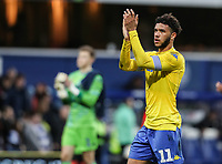 Leeds United's Tyler Roberts applauds his side's travelling supporters at the end of the game<br /> <br /> Photographer Andrew Kearns/CameraSport<br /> <br /> The Emirates FA Cup Third Round - Queens Park Rangers v Leeds United - Sunday 6th January 2019 - Loftus Road - London<br />  <br /> World Copyright &copy; 2019 CameraSport. All rights reserved. 43 Linden Ave. Countesthorpe. Leicester. England. LE8 5PG - Tel: +44 (0) 116 277 4147 - admin@camerasport.com - www.camerasport.com
