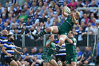 Josh McNally of London Irish looks to claim the ball in the air. Aviva Premiership match, between Bath Rugby and London Irish on May 5, 2018 at the Recreation Ground in Bath, England. Photo by: Patrick Khachfe / Onside Images
