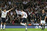 28 May 2008: John Terry (ENG) (6) races to Steven Gerrard (ENG) (10) after scoring a goal as Michael Bradley (USA) (4) looks dejected. The England Men's National Team defeated the United States Men's National Team 2-0 at Wembley Stadium in London, England in an international friendly soccer match.