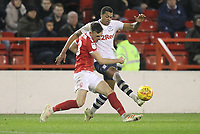 Preston North End's Lukas Nmecha in action with Nottingham Forest's Jack Robinson<br /> <br /> Photographer Mick Walker/CameraSport<br /> <br /> The EFL Sky Bet Championship - Nottingham Forest v Preston North End - Saturday 8th December 2018 - The City Ground - Nottingham<br /> <br /> World Copyright © 2018 CameraSport. All rights reserved. 43 Linden Ave. Countesthorpe. Leicester. England. LE8 5PG - Tel: +44 (0) 116 277 4147 - admin@camerasport.com - www.camerasport.com