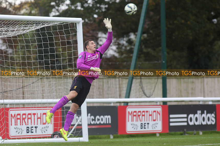 Liverpool's Under 21 goalkeeper, Ryan Fulton, makes a fine save - Fulham Under-21 vs Liverpool Under-21 - Barclays Under-21 Premier League Football at Motspur Park Training Ground, Surrey - 26/10/14 - MANDATORY CREDIT: Paul Dennis/TGSPHOTO - Self billing applies where appropriate - contact@tgsphoto.co.uk - NO UNPAID USE