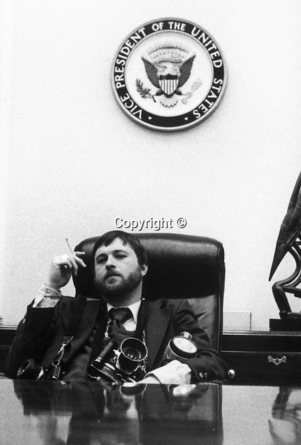 White House Photographer Ron Bennett in Vice Presidents office Washington D.C.,