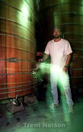 Ken Quayle with large wine barrel<br />