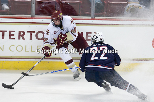 Jimmy Hayes (BC - 10), Brandon Saad (US - 22) - The Boston College Eagles defeated USA Hockey's National Team Development Program's Under 18 team 6-3 on Friday, October 9, 2009 at Conte Forum in Chestnut Hill, Massachusetts.
