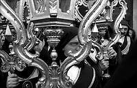 Roma Processione penitanziale  delle Confraternite Cristiane dalla Chiesa di San. Carlo al Corso fino alla Chiesa di San. Marcello al Corso che si svolge nel periodo della Quaresima..Arciconfraternita Morte e Orazione di Lanciano fondata nel 1556 .Rome. Procession penitential of  the Christian Confraternity from the  church of S.Carlo al Corso  up to  the church  of  S. Marcello al Corso that takes place during Lent.
