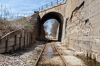 Railroad Tracks Leading through Tunnel in Iowa Falls, IA