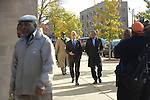 Chicago Mayor Rahm Emanuel arrives for the funeral of Tyshawn Lee, 9, who was shot multiple times while playing basketball in an alley on November 2, 2015, outside St. Sabina's Church following Lee's funeral in Chicago, Illinois on November 10, 2015. Police allege the killing was a retaliatory gang hit which would mark a new turn in Chicago's gang wars.