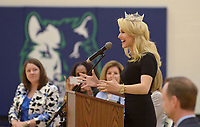 NWA Democrat-Gazette/BEN GOFF @NWABENGOFF<br /> Miss America Savvy Shields of Fayetteville speaks Monday, May 1, 2017, during a presentaiton with Gov. Asa Hutchinson at Fulbright Junior High in Bentonville to kick off a new initiative called 'Healthy Active Arkansas.'