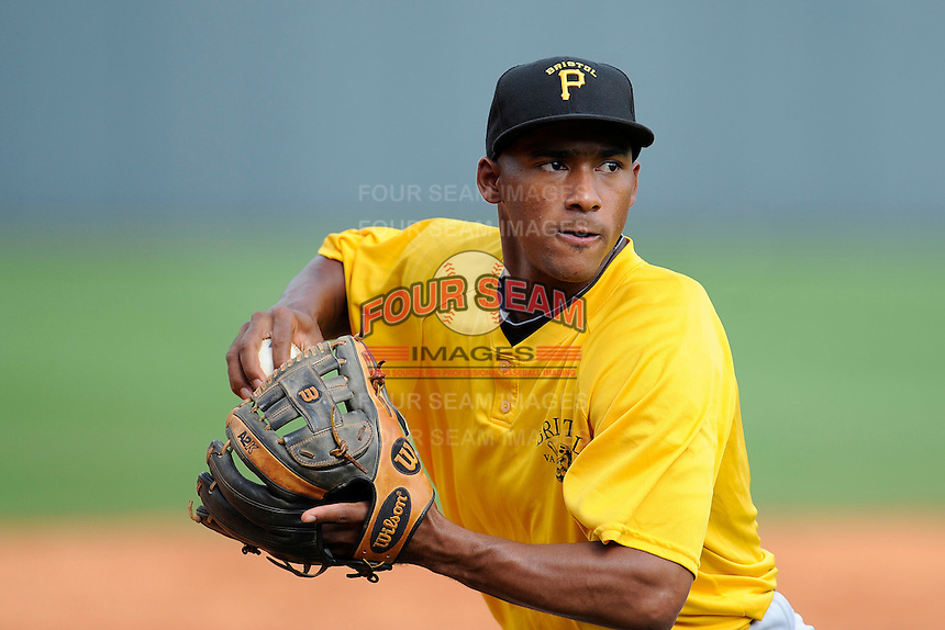 Third baseman Edgardo Munoz (38) of the Bristol Pirates warms up before a game against the Greeneville Astros on Friday, July 25, 2014, at Pioneer Park in Greeneville, Tennessee. Greeneville won, 9-4. (Tom Priddy/Four Seam Images)