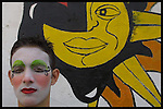 "Martin Beracochea, known as ""Farol"" is seen with full make up moments before the inaugural parade of the Uruguayan Carnival, January 30, 2004. In an abandoned bar in the middle class neighbourhood of Sayago Murga Contrafarsa's members make their last preparations for the opening parade in !8 de Julio Av. in Montevideo Uruguay."