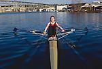 Rowing, Seattle, woman rowing single racing shell, Laura Rauchfuss, released, Pocock Rowing Foundation, High Performance Team, Lake Washington Ship Canal, Washington State, Pacific Northwest,USA,.