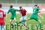 Kerry's John Ward and Shane Jordon close down Andrew Cronin of Cobh Ramblers attempt in the U19 Airtricity League in Mounthawk Park on Sunday.