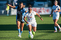 Kansas City, MO - Sunday September 11, 2016: Sofia Huerta, Desiree Scott during a regular season National Women's Soccer League (NWSL) match between FC Kansas City and the Chicago Red Stars at Swope Soccer Village.