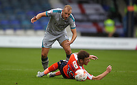 Luke Summerfield of Grimsby Town and Jordan Cook of Luton Town during the Sky Bet League 2 match between Luton Town and Grimsby Town at Kenilworth Road, Luton, England on 10 September 2016. Photo by Harry Hubbard / PRiME Media Images.