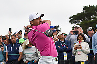Jason Day (AUS) watches his tee shot on 9 during round 1 of the 2019 US Open, Pebble Beach Golf Links, Monterrey, California, USA. 6/13/2019.<br /> Picture: Golffile | Ken Murray<br /> <br /> All photo usage must carry mandatory copyright credit (© Golffile | Ken Murray)