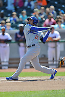 Chattanooga Lookouts center fielder Noel Cuevas #13 swings at a pitch during a game against the Chattanooga Lookouts at Smokies Park on April 10, 2014 in Kodak, Tennessee. The Lookouts defeated the Smokies 1-0. (Tony Farlow/Four Seam Images)