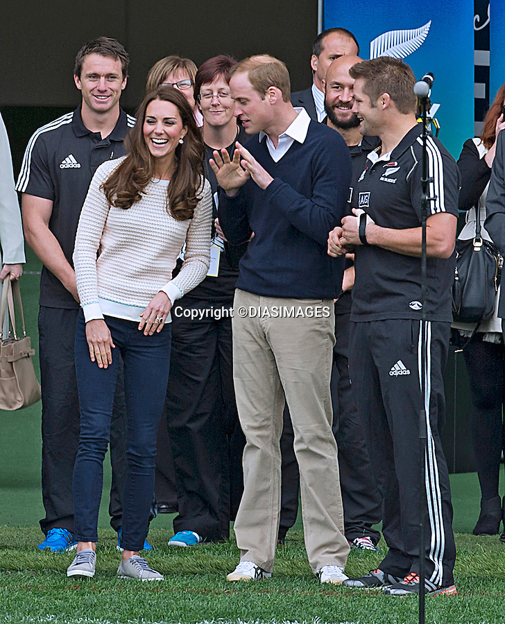 KATE AND PRINCE WILLIAM<br /> watched and participated in a Rippa Rugby match, assisted by All Blacks captain Richie McCaw, at the Forsyth Barr Stadium, Dunedin_13/04/2014<br /> Mandatory Photo Credit: &copy;Dias/DiasImages<br /> <br /> **ALL FEES PAYABLE TO: &quot;NEWSPIX INTERNATIONAL&quot;**<br /> <br /> PHOTO CREDIT MANDATORY!!: NEWSPIX INTERNATIONAL(Failure to credit will incur a surcharge of 100% of reproduction fees)<br /> <br /> IMMEDIATE CONFIRMATION OF USAGE REQUIRED:<br /> Newspix International, 31 Chinnery Hill, Bishop's Stortford, ENGLAND CM23 3PS<br /> Tel:+441279 324672  ; Fax: +441279656877<br /> Mobile:  0777568 1153<br /> e-mail: info@newspixinternational.co.uk