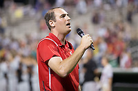 "Kannapolis Intimidators Director of Communications Josh Feldman leads the crowd in the singing of ""God Bless America"" during the 7th inning stretch of the South Atlantic League game against the Delmarva Shorebirds at Kannapolis Intimidators Stadium on July 3, 2017 in Kannapolis, North Carolina.  The Shorebirds defeated the Intimidators 5-2.  (Brian Westerholt/Four Seam Images)"
