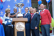 September 13, 2011 (Washington, DC) The WTT Championship trophy held high after  District of Columbia Mayor Vincent Gray issued a proclamation honoring the Washington Kastles at a press conference on Wednesday.  The Kastles won the WTT Championship with a perfect 16-0 season, the first in WTT history.  This marks the team's second championship in three seasons. (Photo by Don Baxter/Media Images International)