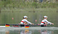 Ottensheim, AUSTRIA.  A  Final, GER JW2X, Bow Clara KARCHES and Mareike ADAMS, Gold Medallist, at the 2008 FISA Senior and Junior Rowing Championships,  Linz/Ottensheim. Saturday,  26/07/2008.  [Mandatory Credit: Peter SPURRIER, Intersport Images] Rowing Course: Linz/ Ottensheim, Austria