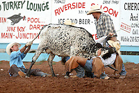 JUNCTION, TX - AUGUST 8, 2009: The Hill Country Fair Association 74th Annual Summer Classic Ranch Rodeo presented by Triple R Rodeo. (Photo by Jeff Huehn)