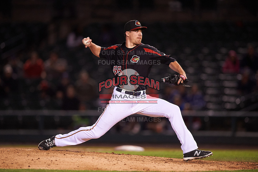 Rochester Red Wings relief pitcher Trevor May (55) delivers a pitch during a game against the Syracuse Chiefs on July 1, 2016 at Frontier Field in Rochester, New York.  Rochester defeated Syracuse 5-3.  (Mike Janes/Four Seam Images)